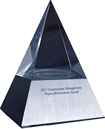 Award that looks like a glass pyramid